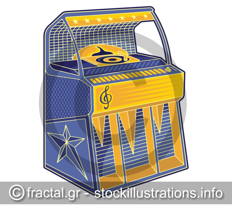 Line Art Jukebox : Retro jukebox lineart stockillustrations