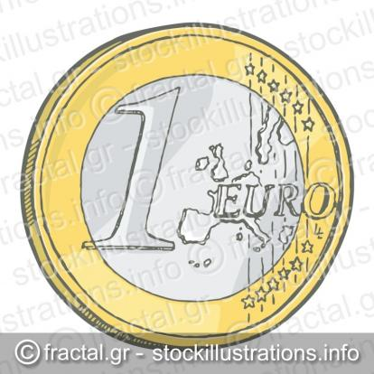 One euro coin sketch