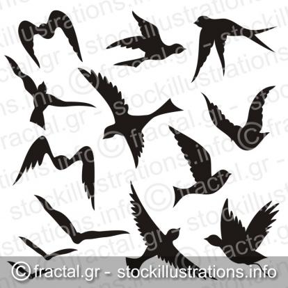 Flying bird silhouettes