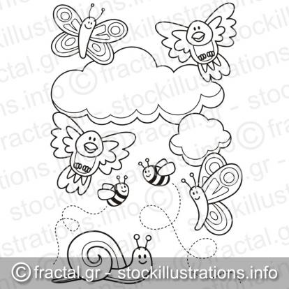 Baby animals coloring book page
