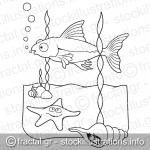 Sea life coloring book page