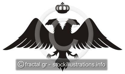 Double headed eagle silhouette with crown