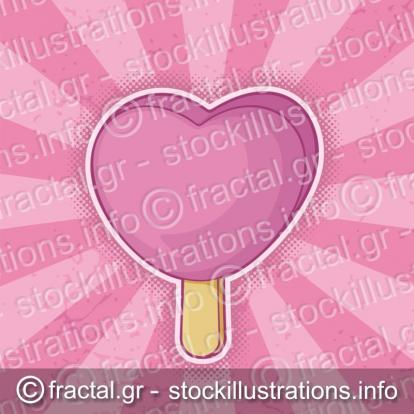 Heart shaped pink ice cream stick