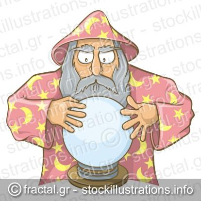 Wizard in pink cape with magic ball