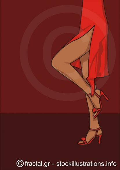 Legs of woman in a red dress